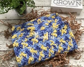 Dishcloth Set Handmade Farmhouse Kitchen Crochet Dish Cloths Blue Yellow Crochet Washcloth Eco Friendly Cotton Dishcloths Set of 3