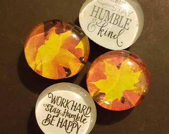 Set of 4 Colorful Glass Magnets, Fall Autumn Leaves, Leaf, Nature Magnets, Super Strong Refrigerator Magnets, Fridge Art, Handmade, humble