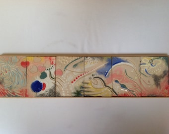 Ceramic art, ceramic wall art, ceramic tile art, framed ceramic tile art, abstract art, handmade tiles
