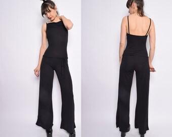 Vintage 90's BlackSheer Jumpsuit / Wide Leg Strappy Jumpsuit / See Through Black Onesie - Size Small