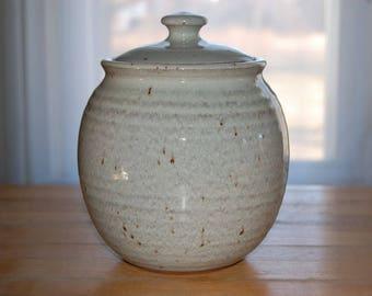 Lidded jar glazed white