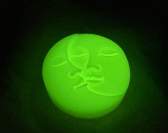 The Glow Moon and Sun Soap - Vegan - Body and Face Soap - Pear Scent - Sulfate Free Bar Soap - Glow in the Dark