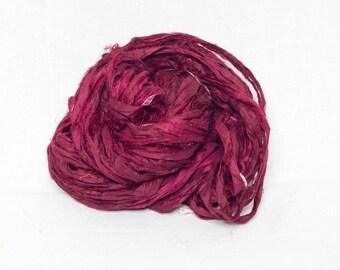 Worm Goo Sari Silk Kettle Dyed Yarn in Cabernet