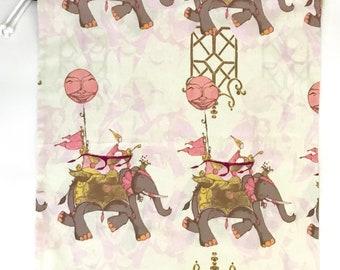 Drawstring Bag/ Library Bag - Elephants Pink