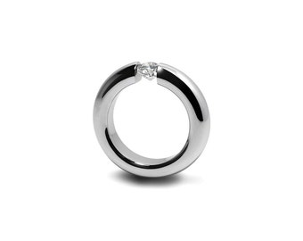 White Sapphire Tension Set Ring Stainless Steel Engagement or Wedding ring