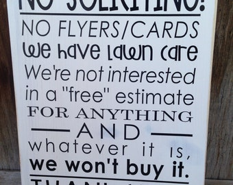 NO SOLICITING sign for your front door/porch. Wooden home decor sign with vinyl lettering