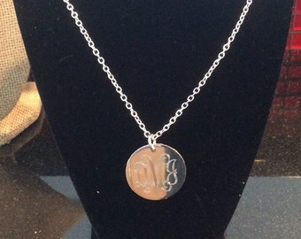 Monogrammed Silver Necklace, Personalized Silver Necklace, Engraved Necklace Silver