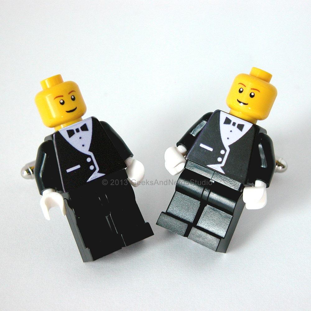 Groomsmen Gift LEGO Black Tuxedo Figure Silver Cufflinks