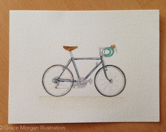 Custom Bicycle Portrait, a Watercolor Illustration of Your Bike