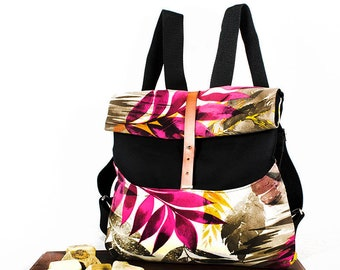 Roll Backpack/handmade/comfortable/light/practical/canvas combined with different patterns/adjustable straps