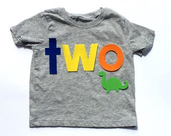 Dinosaur Theme/ two/Second Birthday/First Birthday/Fabric Iron On Applique Letters/Other Numbers Available/NEW DESIGN