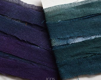 Cotton Ribbon, Hand Dyed Harem Cloth, 60 in. Purple or Blue. Jewelry Crafts, Fiber Arts, DIY
