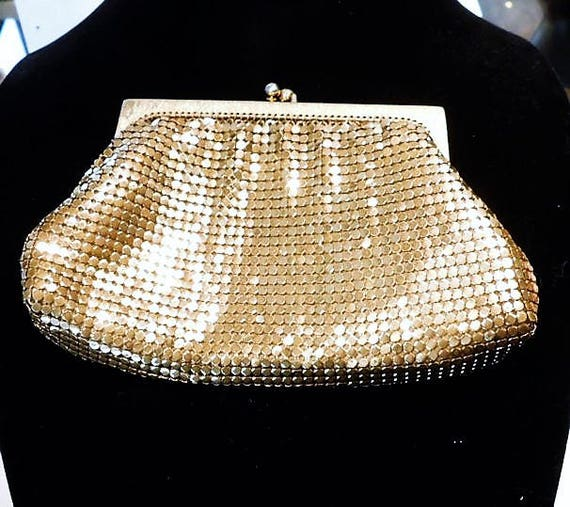 Gold Enamel Mesh Whiting Davis Evening Coin Pouch Purse