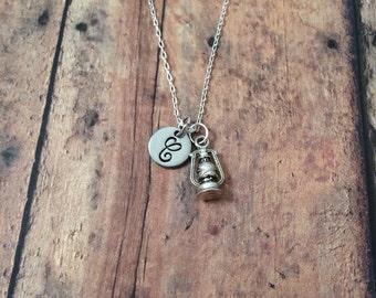 Lantern initial necklace - lantern jewelry, camping necklace, oil lamp necklace, summer camp necklace, silver lantern necklace, camp jewelry