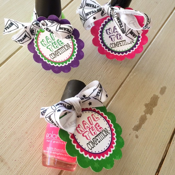 Cheerleading Good Luck Favor Tags Customized PDF File Nail