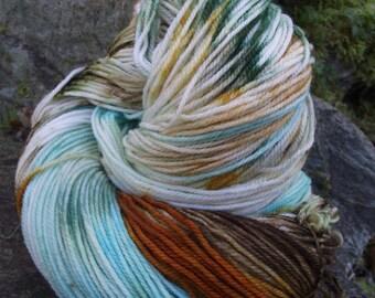 Handpainted sock yarn, fingering yarn, Superwash Merino Wool  Nylon ,100 grams-Gnome Forest
