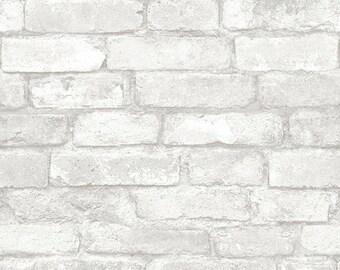 NU1653 Light Grey and White Brick Peel & Stick Wallpaper - Yard
