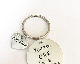 Stepmum Keyring -  You're One In A Million Keyring - Hand Stamped Step Mum Keyring - One In  a Million - Step Mum Keyring - Mothers Day