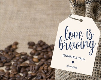 Love is brewing navy tag, wedding favor tags, gift label printable template, wedding favor label template, instant PDF, editable text