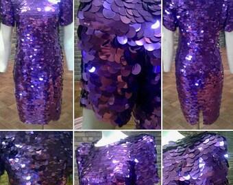 Absolutely Stunning Original 1980s Oleg Cassini Black Tie Label Purple Sequin Dress with Magnificent Shoulder Pads!