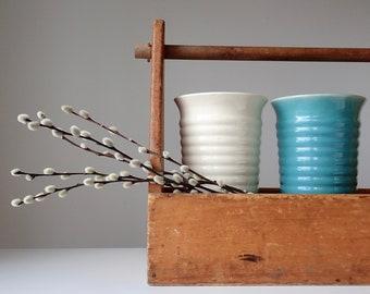 "Tall Ringware pottery vase, Aqua Ringware vase, Hull Ringware pottery vase, Hull Mardi Gras vase, 10"" Ringware vase, Ribbed pottery vase"