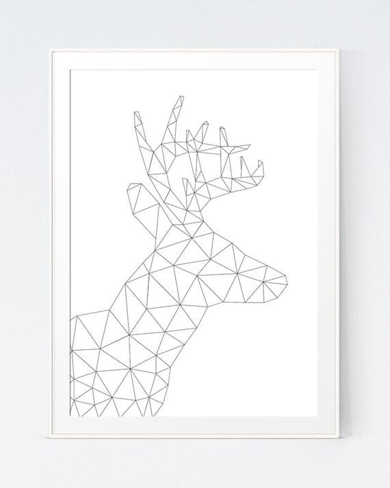 Geometric Origami Deer Black And White Animal
