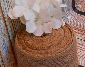 Burlap Wired Ribbon / Rustic Burlap Ribbon / Ribbon Supply / Craft Supply  / Wreath Ribbon / Burlap Wedding / 5 Yards of Burlap