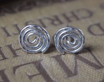 silver stud earrings, studs, silver studs, spiral silver earrings, handmade jewelry, Argentium silver earrings, handmade silver jewellery