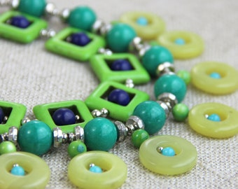 Colorful Green Statement Necklace -  Lime Green Teal Blue Navy Chartreuse Bib Statement Necklace Modern Fun Bold Geometric