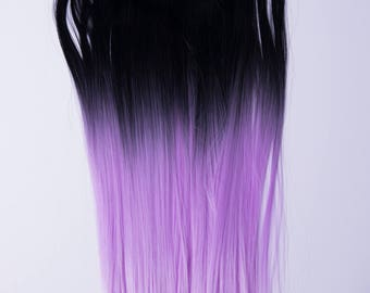 PennyWigs Ombre Lavender Dip Dyed Straight Clip-In Hair Extensions 7 pieces Realistic Pastel Lilac Purple Pink Pinky Black Natural soft fine