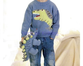 Boys dino jumper knitting pattern 99p