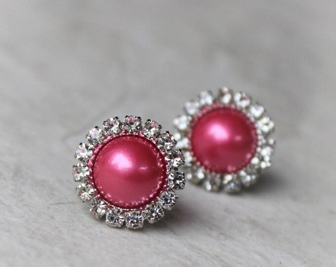 Hot Pink Earrings, Bridesmaid Jewelry, Hot Pink Jewelry, Bridesmaid Earrings Gift, Hot Pink Earrings, Wedding Jewelry, Fuchsia