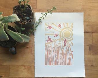 A New Day Limited Edition Woodblock Print / Handmade Artist Print // Linocut Block Woodcut Relief Woodblock Print