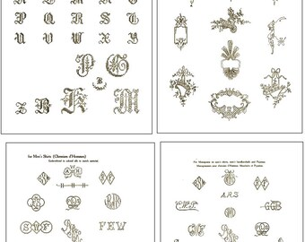 Vintage Hand EMBROIDERY MONOGRAM Design PATTERNS 100s of Designs 66 pages Printable Top Reviews Instant Download