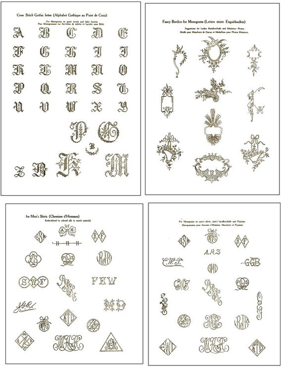 Vintage Hand Embroidery Monogram Design Patterns 100s Of