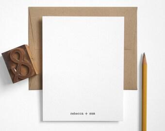 Typewriter Letterpress Stationery Set - Custom Couples Modern Note Cards - Black and White - Editor