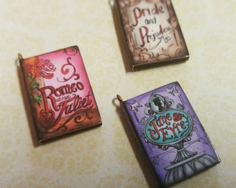 """Miniature Book Charms Wood Charms Classic Book Charms Set of 3 1"""" Library Charms"""