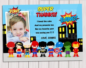 Pop Art SuperHero Thank you Card with photo / Note Card Super Hero photo Birthday Party / Comics Pop art Personalized Printable pdf