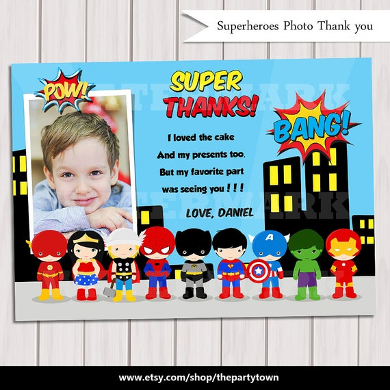 Pop Art Superhero Thank You Card With Photo Note Card Super