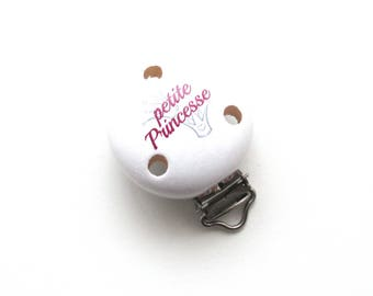 Wooden Princess clip - white/Fuchsia
