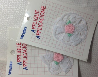 Four Wrights flower and lace appliques pink