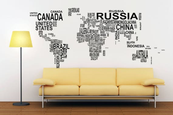 Typography World Map - Decals for Home Decor, Lettering, Usa France Germany Italy Europe Africa Australia America Russia Asia China Japan