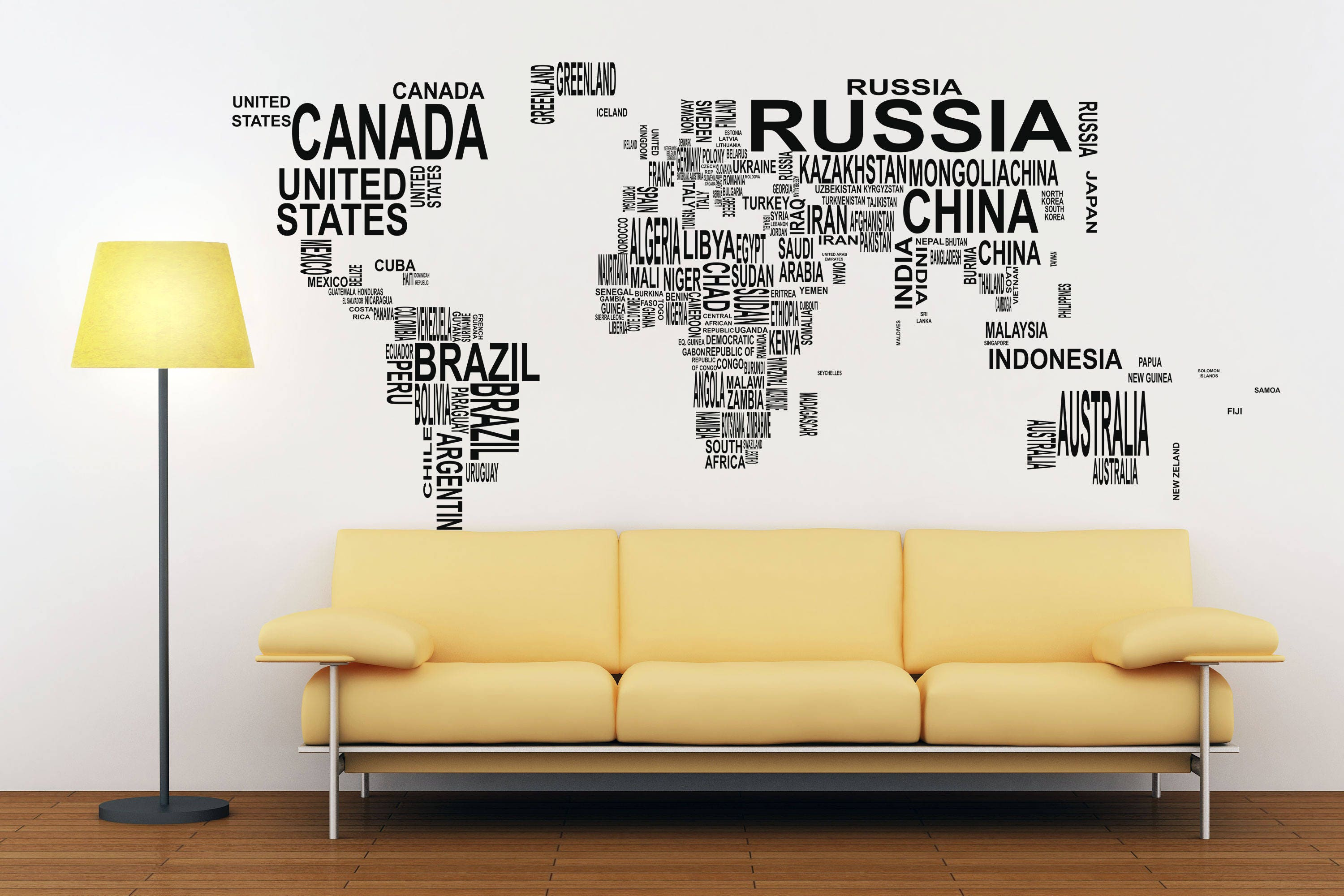 Typography world map decals for home decor lettering usa france typography world map decals for home decor lettering usa france germany italy europe africa australia america russia asia china japan gumiabroncs Gallery