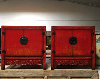 FREE SHIPPING WITHIN U.S.-Pair of Antique Chinese Storage Cabinets in Lacquered Red  (Los Angeles)