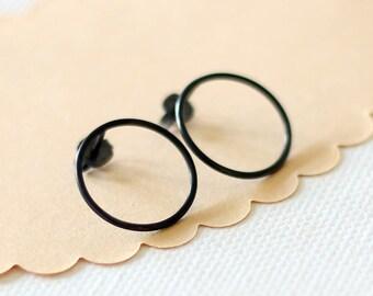 Oxidized Circle Earrings, Silver Stud Earrings, Simple black hoop