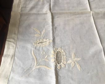 Pretty Embroidered tablcloth in Buttercup Yellow