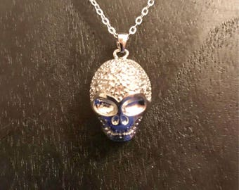Sterling Silver Swarovski Crystal Skull Pendant Necklace - Pagan - Wiccan - Goth - Alternative SALE
