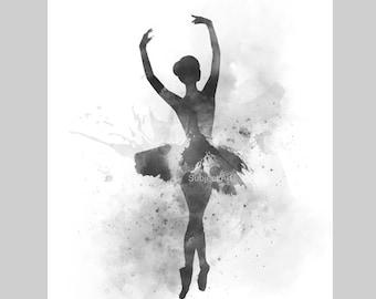 Ballerina 2 ART PRINT illustration, Black and White, Ballet Dancer, Dance, Wall Art, Home Decor, Gift