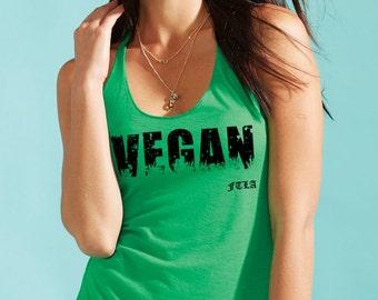 VEGAN Triblend Racerback Tank Top   Vegan Tank Top   Vegan Top   Vegan Shirt   Vegan Tee   Vegan t-shirt   Vegan Clothes   Screen Printed