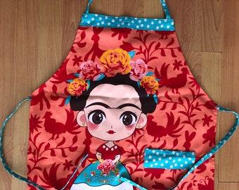 Frida Sugar Skull Apron Kahlo Cotton Delantal